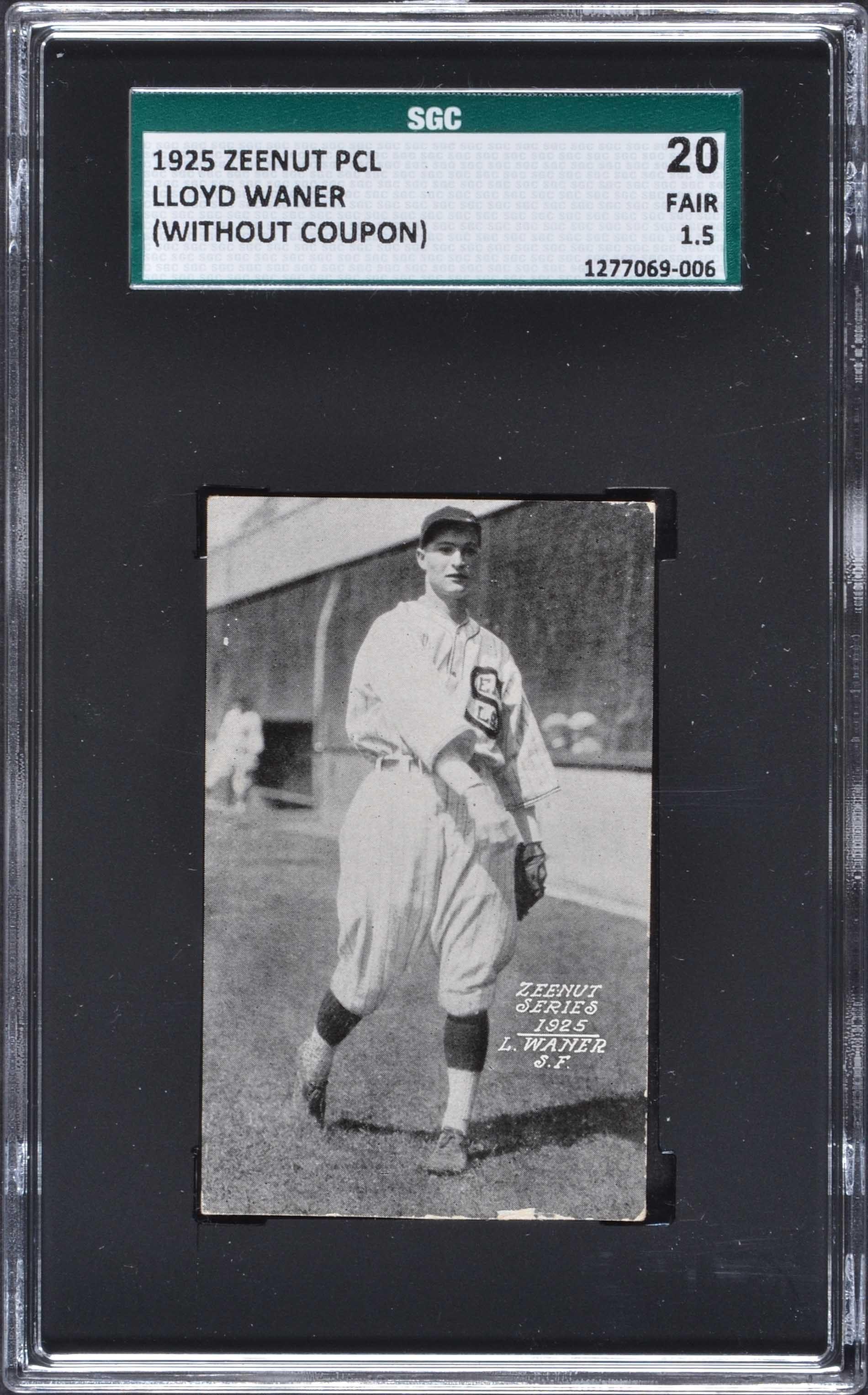 1925 Zeenut Pcl Lloyd Waner Rookie