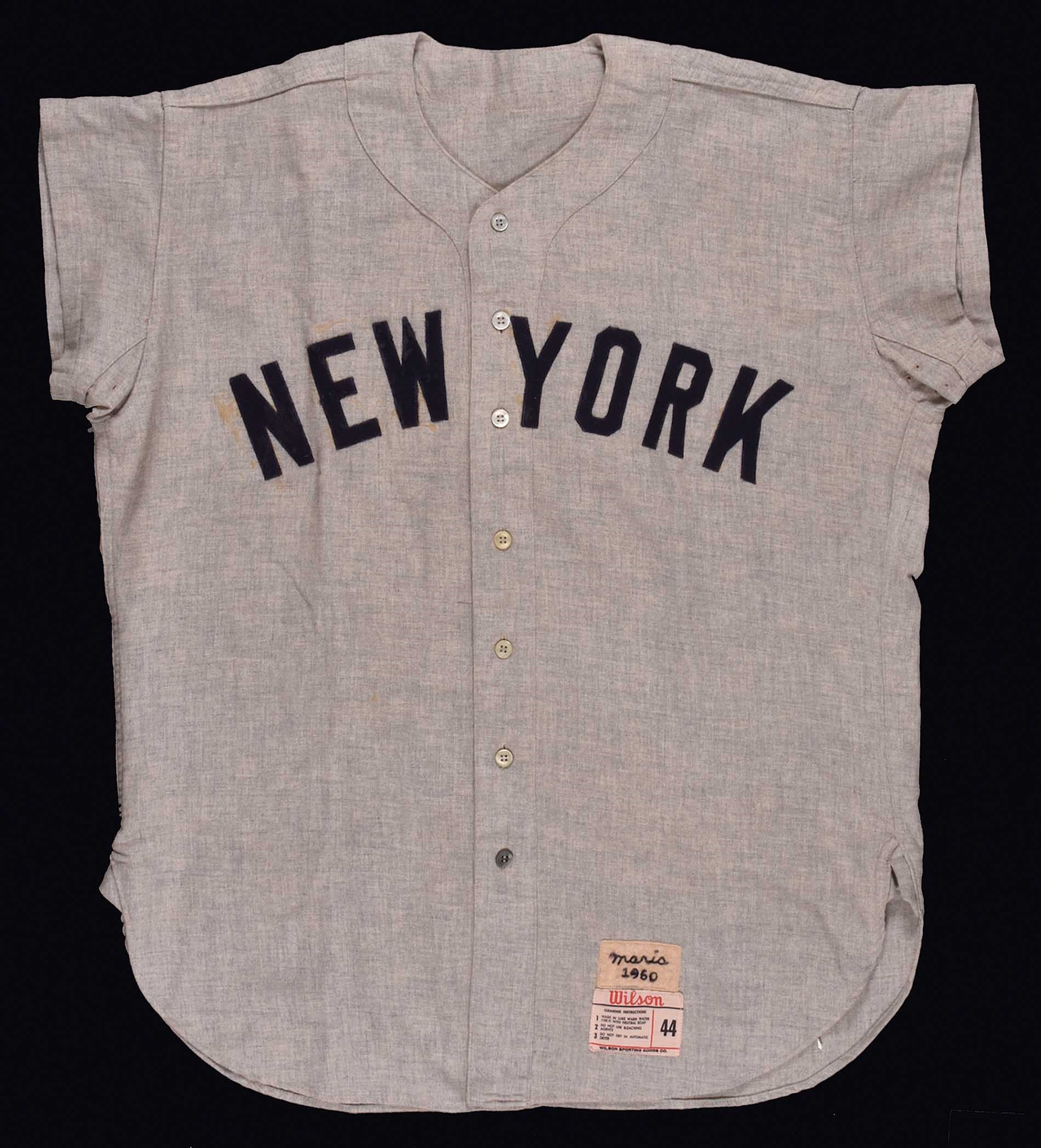 timeless design d5d3a 54821 1960 Roger Maris New York Yankees Game-Used Road Jersey