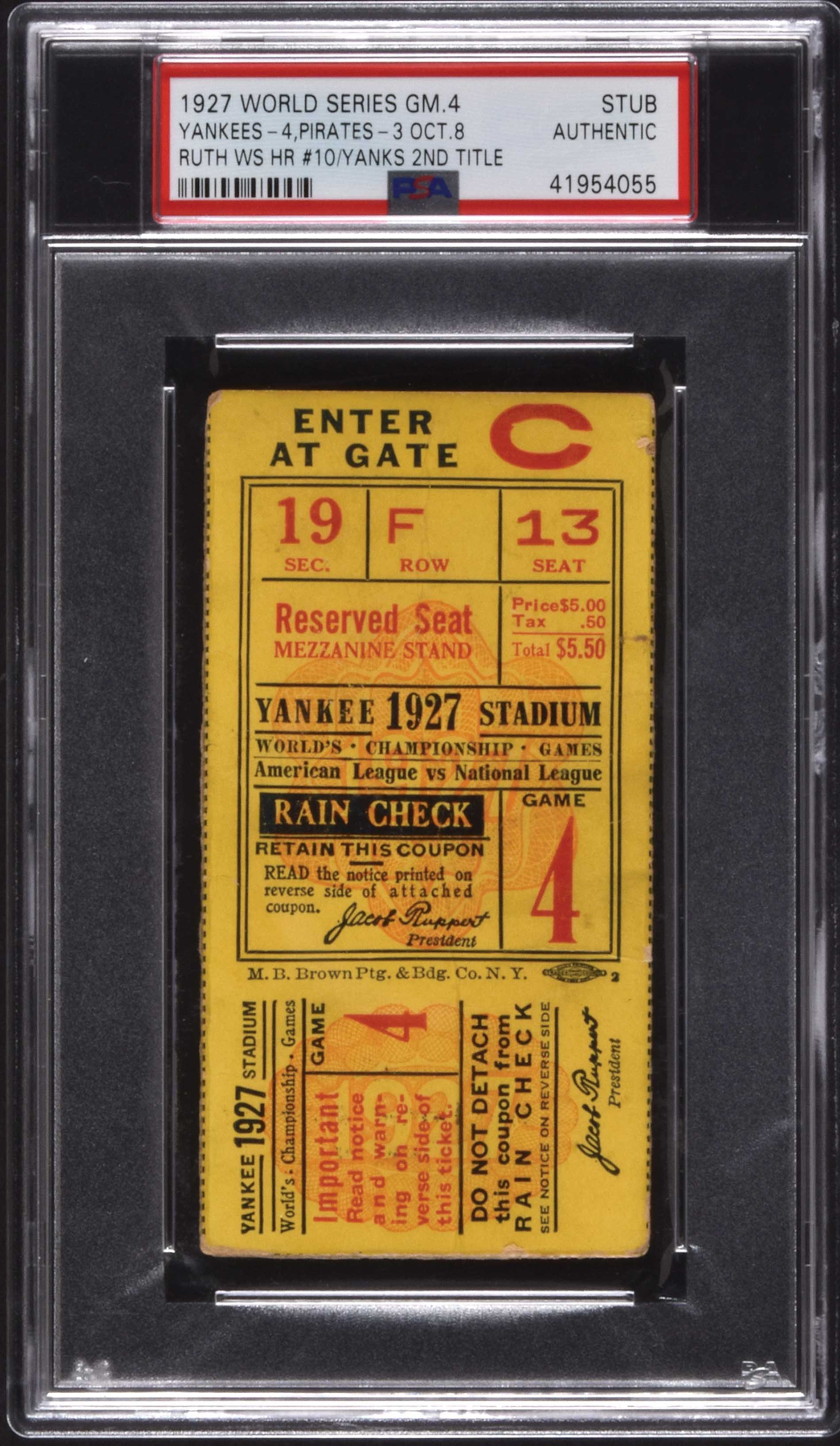 1927 New York Yankees World Series Ticket Stub - Game 4